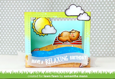 Have a Relaxing Birthday Card by Samantha Mann for Lawn Fawn, Shadowbox, handmade cards, card, beach, birthday card, distress ink, #lawnfawn #birthday #birthdaycard, #beach #cards #interactive