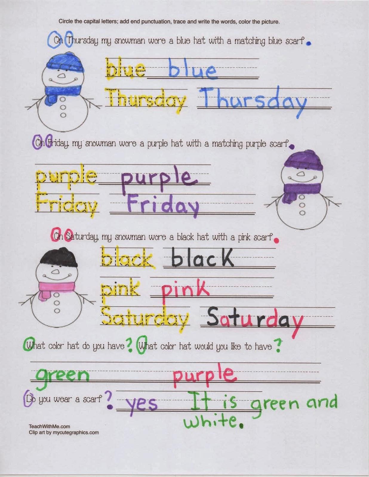 Classroom Freebies Snowman Packet