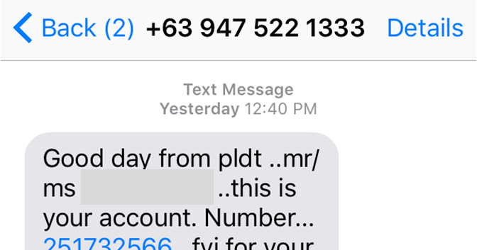 TEXT SCAM Targetting New PLDT Subscribers