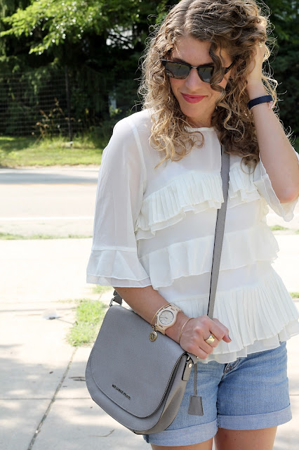 sheer ruffled blouse, jean shorts, grey Michael Kors saddle bag, blush lash up flats, vacation ready outfit, JORD Maple Fieldcrest watch