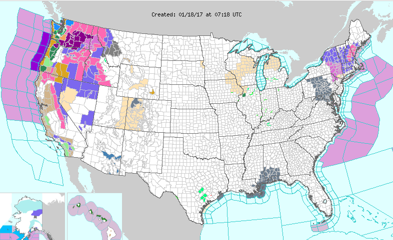 Weather Advisories and Warnings Across the USA  Map courtesy the National Weather Service