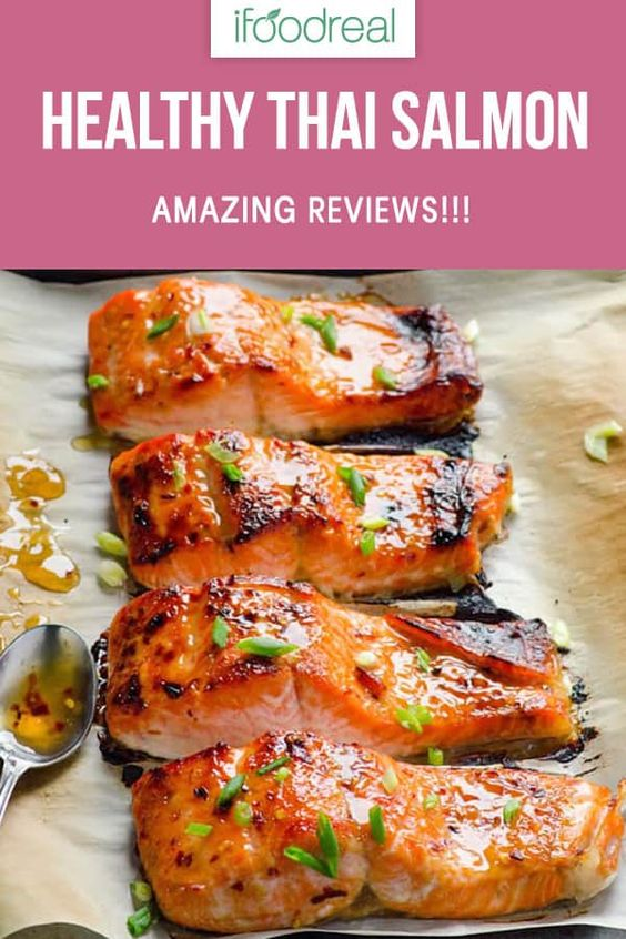 Thai Salmon Recipe with easy healthy sweet chili sauce oven baked in winter or grilled on cedar plank in summer. Read rave reader reviews yourself. #ifoodreal #cleaneating #salmon #healthy #recipe #recipes #lowcarb #keto #glutenfree