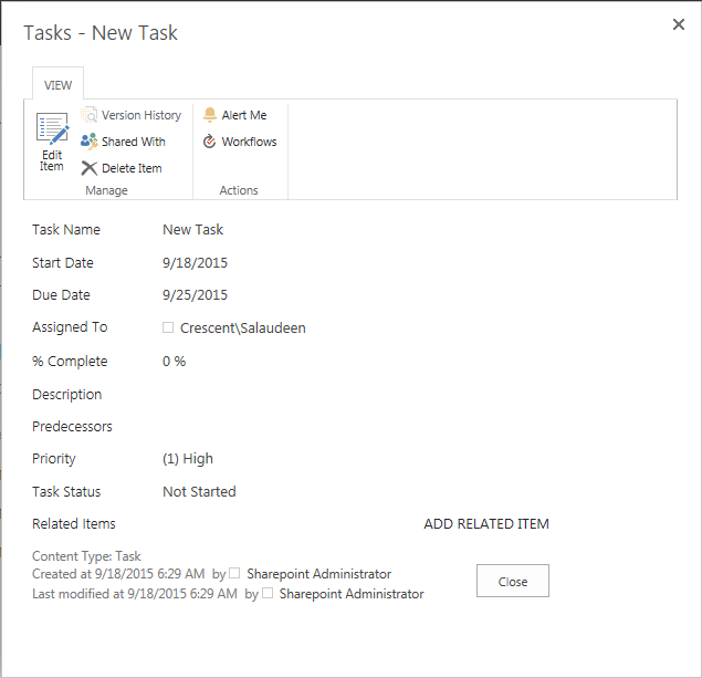 create new task item in Task list of SharePoint using PowerShell