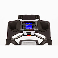 Schwinn 870's console with Dual Track 2 blue backlit LCD displays, image
