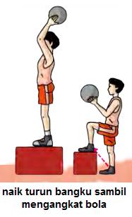 Naik turun bangku (box) sambil memegang bola