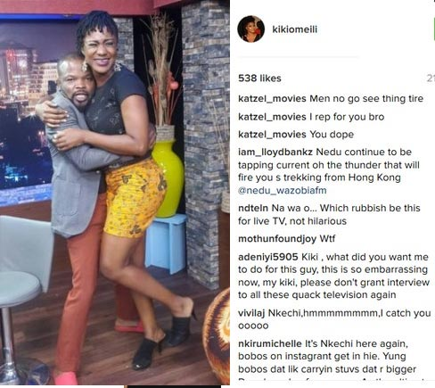 Fans go gaga as Wazobia FM presenter Nedu grabs actress Kiki Omeili at talk show