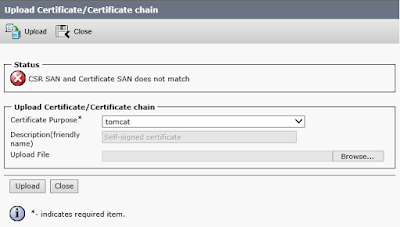 The Upload Certificate dialog of Platform Administration showing an error that CSR SAN and issued certificate SAN do not match.