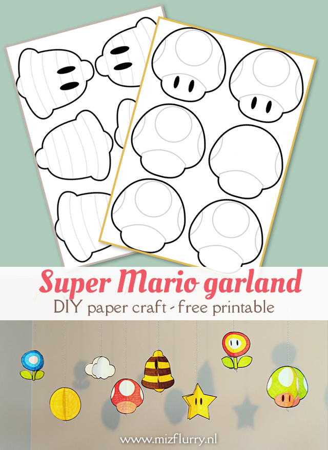Free printable to make a Super Mario items garland. DIY project 3D paper craft.