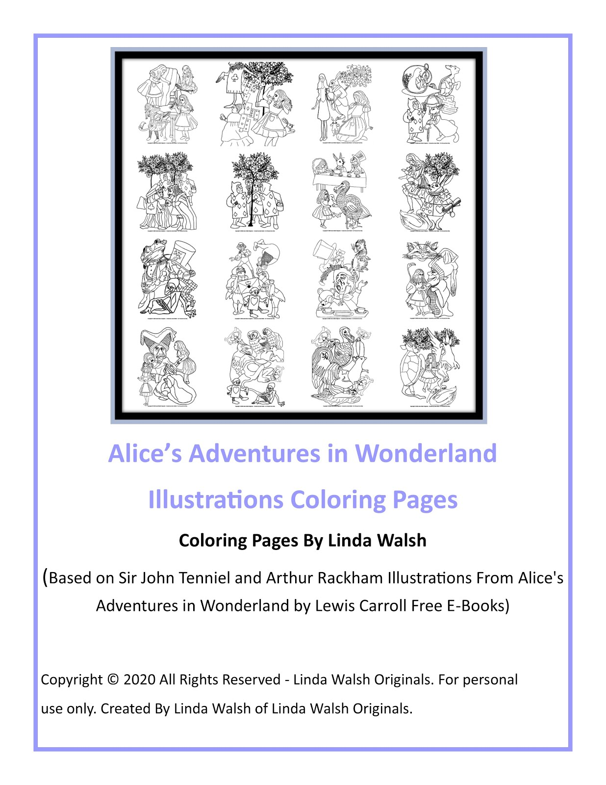 Alice's Adventurers In Wonderland Free Coloring Pages E-Book