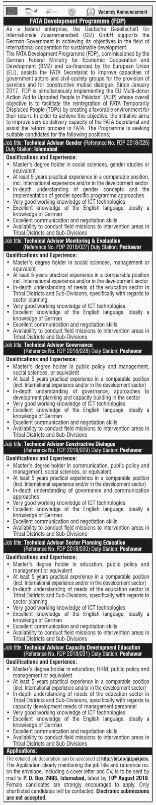 FATA Development Program for August 2018