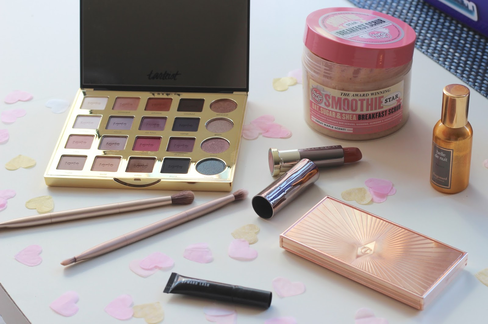 February Favorites | Tarteist Pro Palette, Charlotte Tilbury Filmstar Bronze & Glow, Urban Decay Vice Lipstick & Soap & Glory Breakfast Scrub