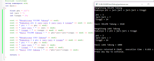 8# Membuat Program / Aplikasi Menghitung Volume Tabung Dan Luas Tabung Bahasa Pemrograman C++