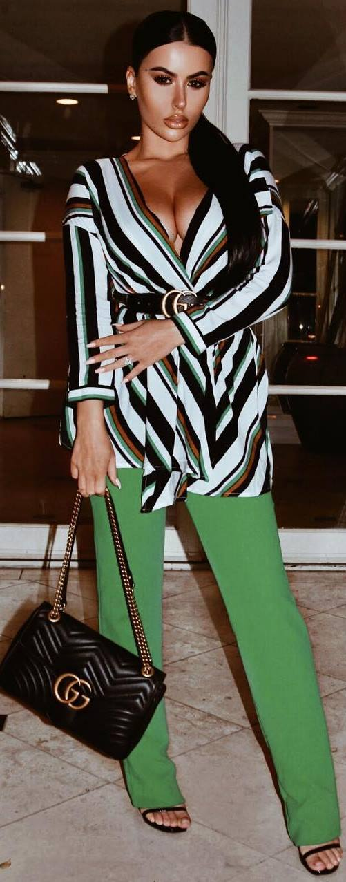 trendy outfit / stripped blouse + bag + green pants + heels