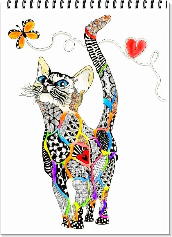 große malbeispielekatze mandala zeichnung  free mandala