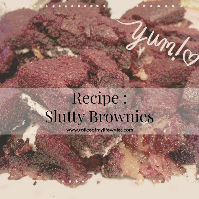 recipe for slutty brownies made using oreos  and chocolate chips