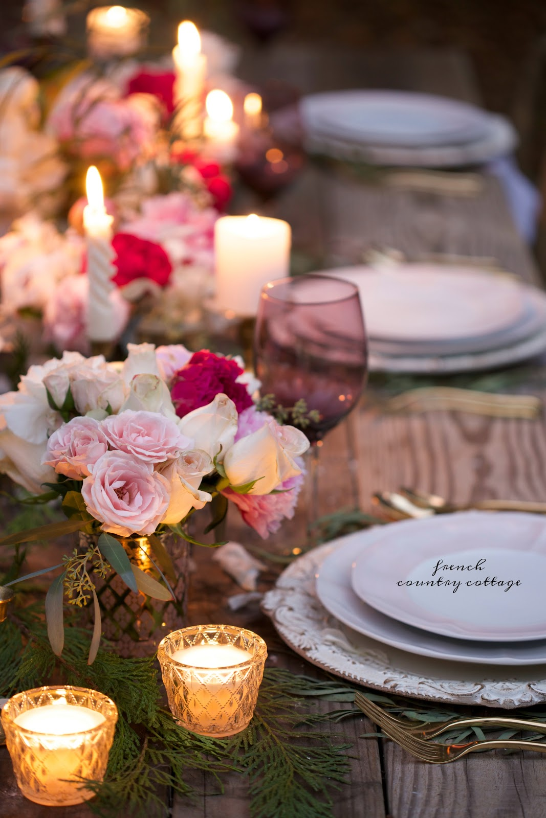 A romantic holiday party table setting - FRENCH COUNTRY COTTAGE