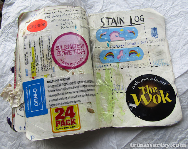 Wreck this Journal - Stain log
