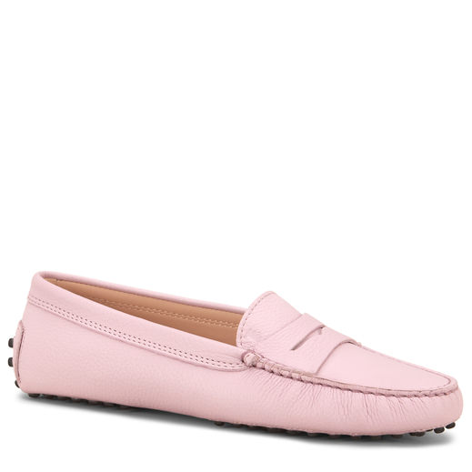 Tod's Pink Leather Gommino Driving Shoes