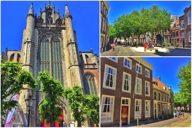 Hoohlandse Kerk y calles en el centro de Leiden