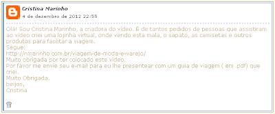Comentário de Cristina marinho no blog