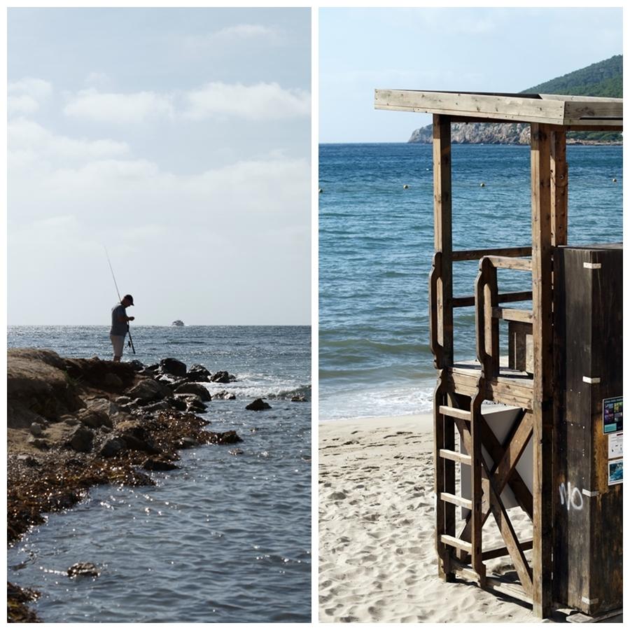 Blog + Fotografie by it's me! - Reisen - La Isla Blanca Ibiza, Santa Eurlaria - Angler an den Klippen und ein Rettungsschwimmerstand