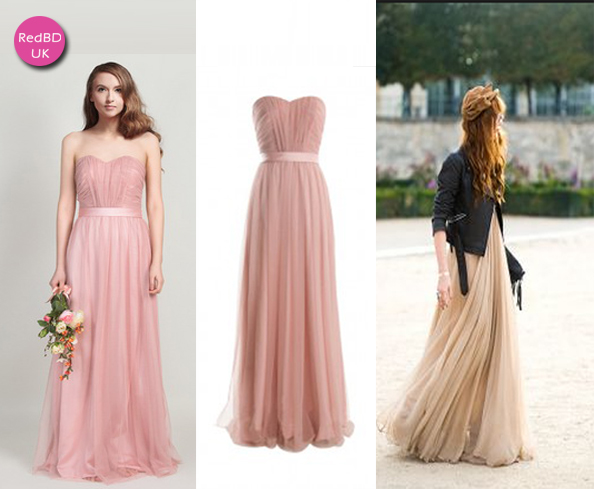 Tulle Sweetheart Strapless Pleated Bodice with Satin Sash Long Bridesmaid Dress