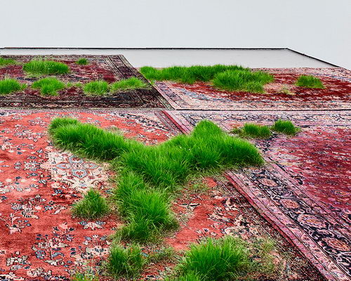 Tinuku Martin Roth planting grass on Persian rugs in Koo Jeong A. exhibition at Korean Cultural Centre UK