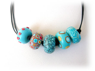 Turquoise Millefiori Oblate Necklace handmade from polymer clay