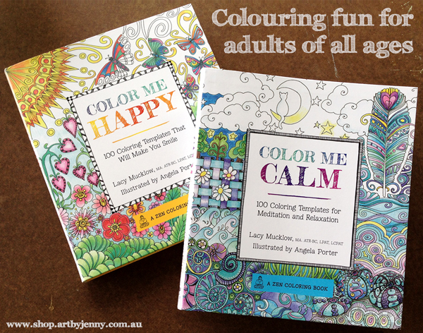 Cover photo of Color Me Happy and Color Me Calm by Lacy Mucklow and Angela Porter
