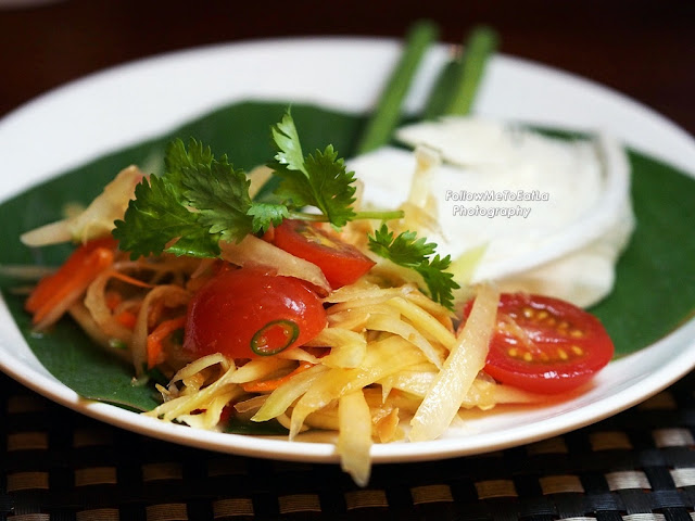 Som Tam ~ Thai papaya salad with dried shrimps, roasted peanuts and chilli-lime dressing.