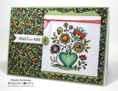 Power Poppy, Marcella Hawley, Folk Heart, Cozy Cupfuls, PageMaps, CardMaps, CherylQuilts, Designed by Cheryl Scrivens, April 2016