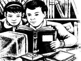 Dibujo de niños muy estudiosos en una biblioteca
