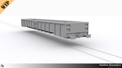 Fastline Simulation: Early render showing development of the body for a JNA Falcon bogie ballast box wagon.