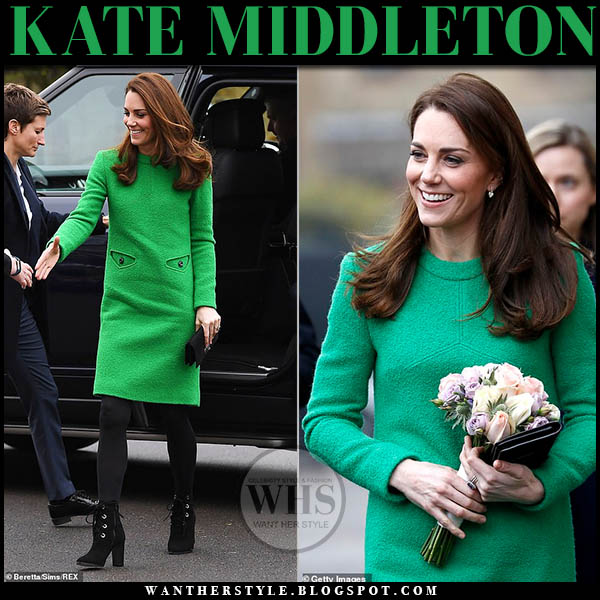 Kate Middleton Duchess of Cambridge green boucle eponine dress and black suede ankle boots l.k. bennett mollie winter royal style february 5