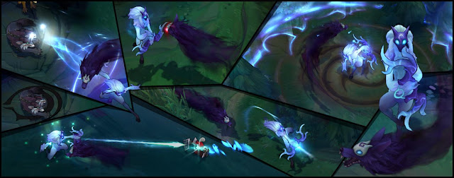 Collage of Kindred from League of Legends using abilities