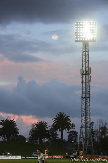 Stormy sky after the Hawke's Bay Magpies rugby 24-26 loss to Bay of Plenty Steamers at McLean Park, Napier.  photograph