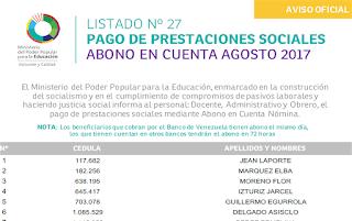 LISTADO Nº 27 Pago de prestaciones sociales mediante Abono en Cuenta Nómina al personal: Docente, Administrativo y Obrero