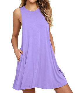 this image relates Women's Sleeveless Pocket Casual Loose T-Shirt Dress.