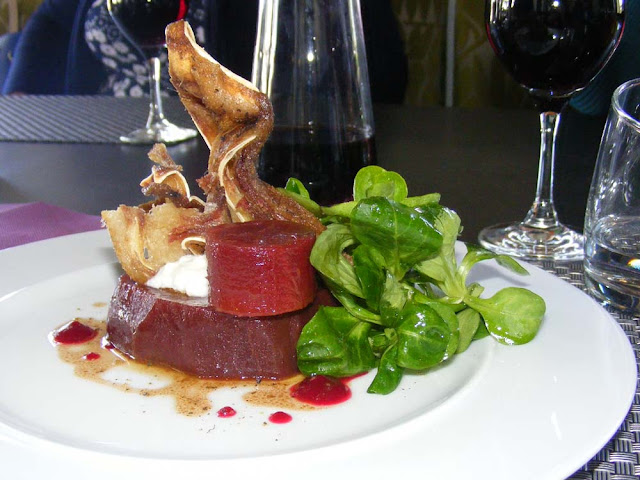 Beetroot and pigs ear starter.  Indre et Loire, France. Photographed by Susan Walter. Tour the Loire Valley with a classic car and a private guide.