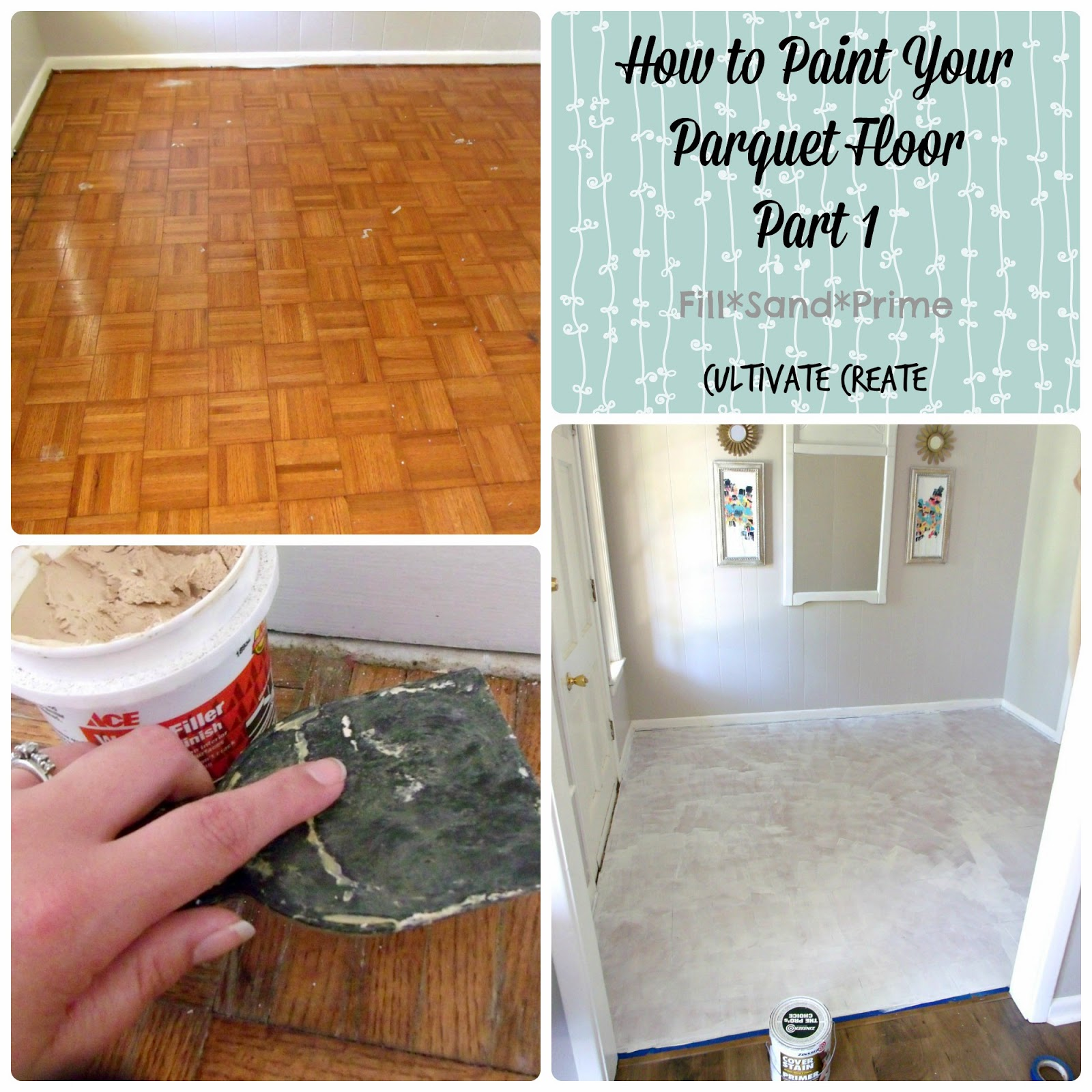 Painted Parquet Kitchen Floor: Cultivate Create: Painted Parquet Floor