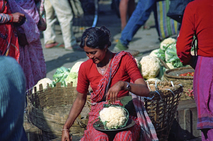 Népal, Katmandou, Hanuman Dhoka Square, Marché des Légumes, © L. Gigout, 1990