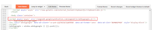 Google Adsense sytax error in blogger