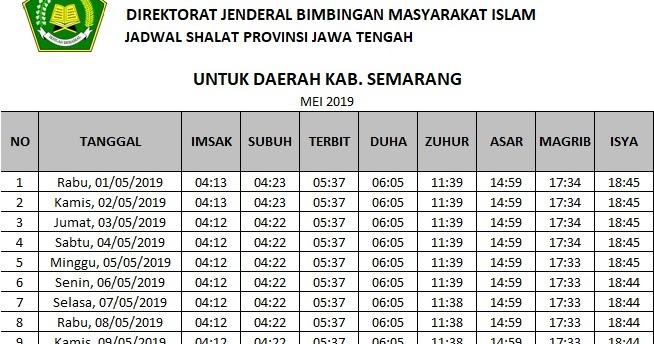 Jadwal Imsakiyah Ramadhan 2019 / 1440 H Daerah Semarang