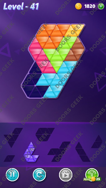 Block! Triangle Puzzle 7 Mania Level 41 Solution, Cheats, Walkthrough for Android, iPhone, iPad and iPod