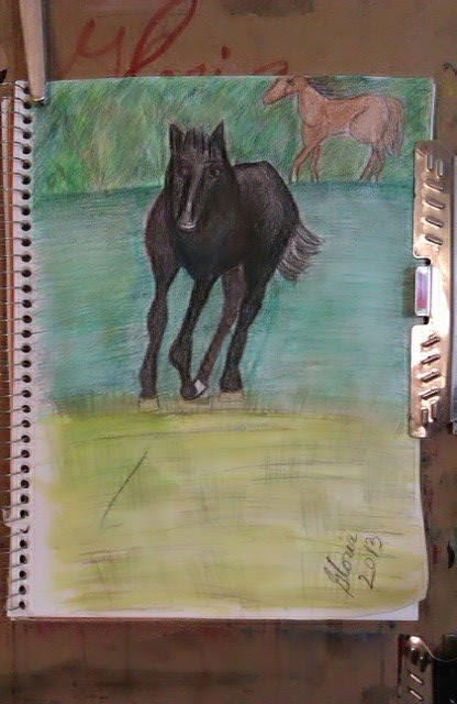 """Wild horse"" sketch by Gloria Poole of Missouri; yr 2013; on paper"