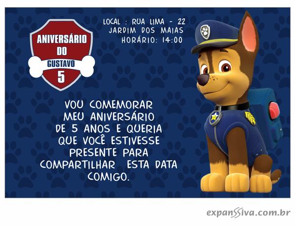 Convite Aniversário Patrulha Canina em Porto Alegre