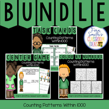 This bundle has task cards, color by number printables and center games for Second Grade Go Math 1.9, Counting Patterns Within 1000. You will love how easy it is to prepare this easy to prep bundle for your math class. Perfect for small groups, read the room, centers, scoot, tutoring, Around the World whole class game, homework, seat work, so many ways to use these task cards that the possibilities are endless. Your students will enjoy the freedom of independent learning with these color by code worksheets and reviewing important skills with the center games! Perfect for an assessment grade for the week or for a substitute teacher day!  This bundle has the following three resources:  1. 2nd Grade Go Math 1.9 Counting Patterns Within 1000 Task Cards 2. 2nd Grade Go Math 1.9 Counting Patterns Within 1000 Quick and Easy to Prep Centers 3. 2nd Grade Go Math 1.9 Color By Numbers Counting Patterns Within 1000