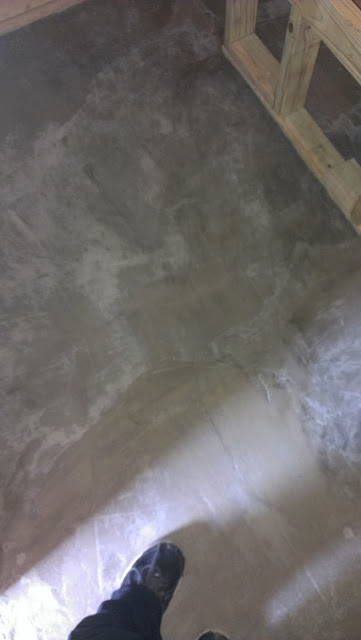 Cemented sauna hot room floor 24 hours later.