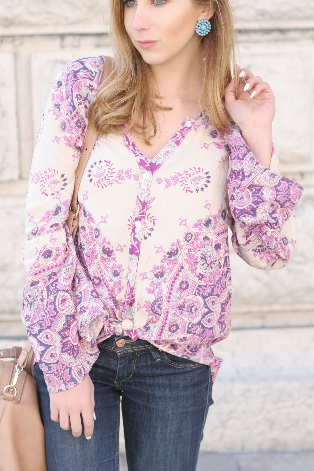 paisley-blouse-with-statement-earrings-and-white-gel-nails
