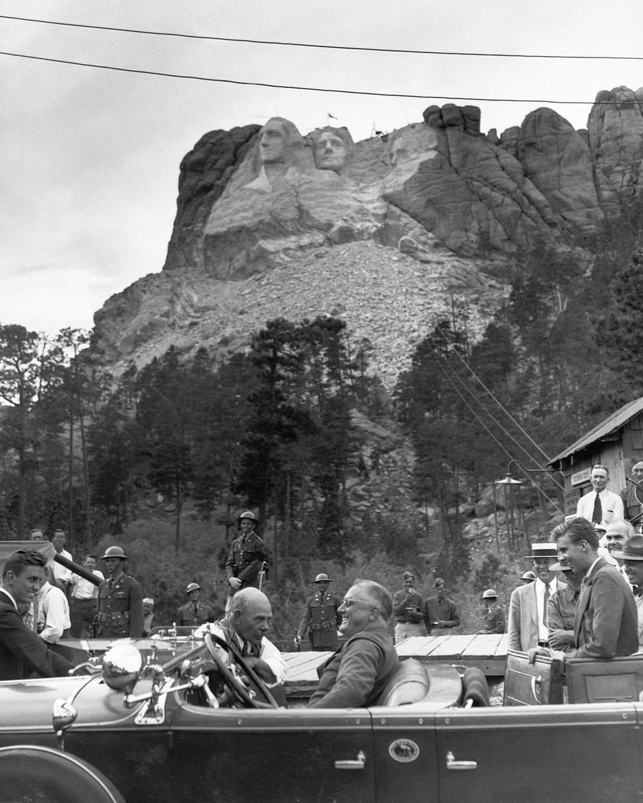 President Franklin Roosevelt visits Mount Rushmore to dedicate the sculpture of Thomas Jefferson. 1936.